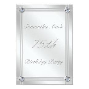 Silver and Diamonds Look 75th Birthday Party Invitations
