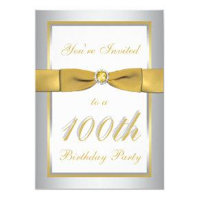 Silver and Gold 100th Birthday Invitations
