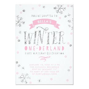 Silver and Pink Winter Onederland First Birthday Invitation