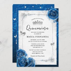 Silver and Royal Blue Roses Elegant Quinceanera Invitation