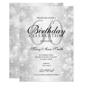 Silver Any Age Birthday Party Shimmer Lights Invitations