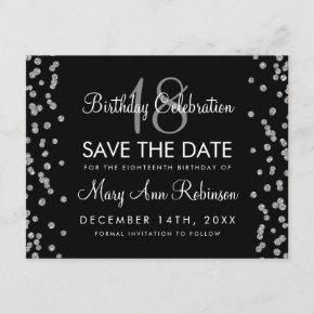 Silver Birthday Save Date Glitter Confetti Black Save The Date