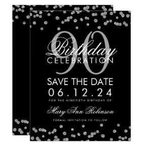 Silver Black 90th Birthday Save Date Confetti Invitation