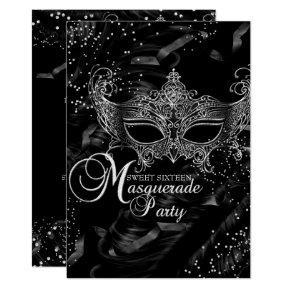 Silver Black Diamond Mask Masquerade Sweet 16 Card