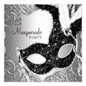 Silver Black Mask Masquerade Party Invitations