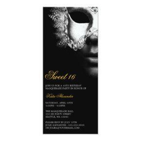 Silver Black Masquerade Sweet 16 Birthday Invites