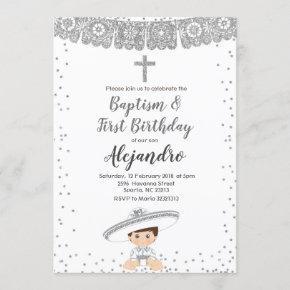Silver Charro Boy baptism and birthday invitation