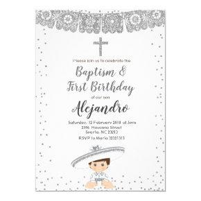 Silver Charro Boy baptism and birthday invitation