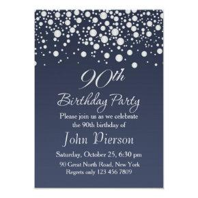 Silver confetti 90th Birthday Party Invitation