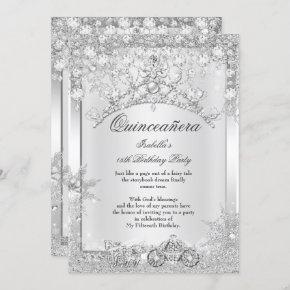 Silver Crystal Quinceanera 15th Winter Carriage Invitation