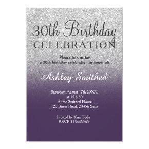 Silver faux glitter purple ombre 30th birthday invitation