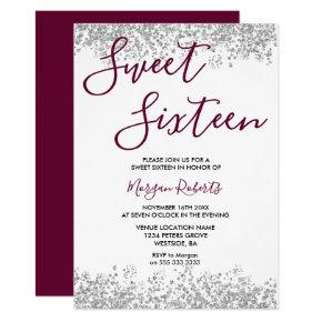 Silver Glitter Burgundy Sweet 16 Party Invitation