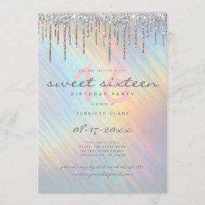 Silver Glitter Drips Rainbow Holographic Sweet 16 Invitation