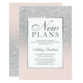 Silver glitter elegant pink postponed new plans invitation