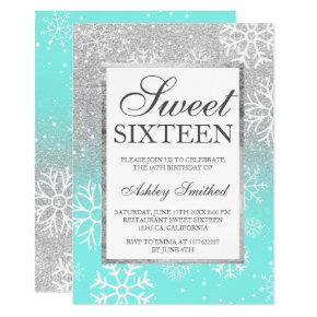 Silver glitter elegant teal Sweet 16 winter snow Invitation