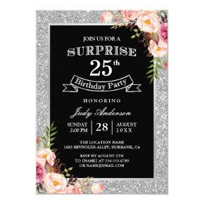 Silver Glitter Floral 25th Surprise Birthday Party Card