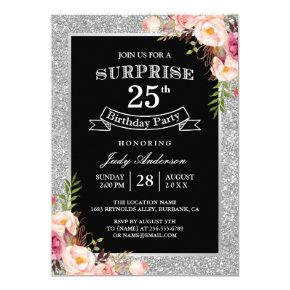 Silver Glitter Floral 25th Surprise Birthday Party Invitation