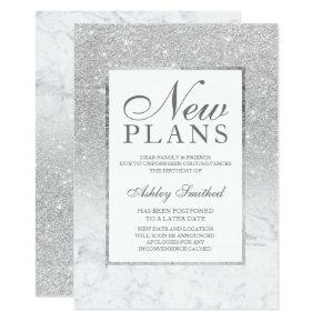 Silver glitter ombre marble postponed new plans invitation