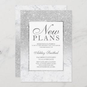 Silver glitter ombre marble postponed new plans invitation