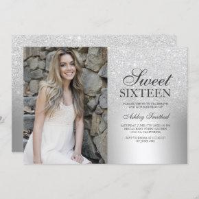 Silver glitter ombre metallic photo Sweet 16 Invitation