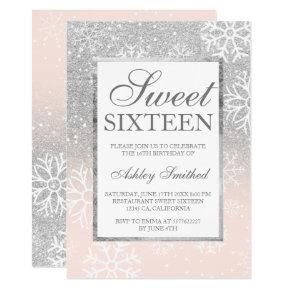 Silver glitter pink elegant chic Sweet 16 snow Invitations