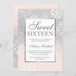 Silver glitter pink elegant chic Sweet 16 snow Invitation