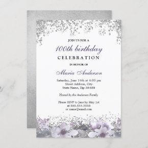 Silver Glitter Purple Floral 100th Birthday Invite