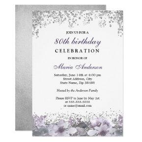 Silver Glitter Purple Floral 80th Birthday Invite