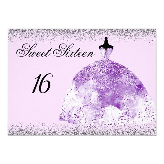 Silver Glitter Purple Gown Sweet 16 Invitation Candied Clouds