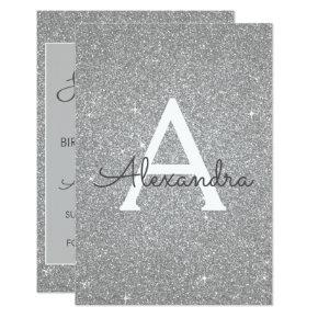 Silver Glitter Sweet 16 Save the Date Invitation