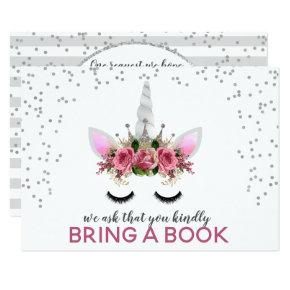 Silver Glitter Unicorn Princess Bring A Book Invitation