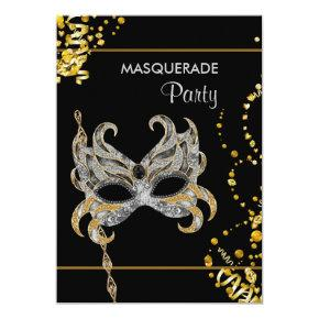 Silver Gold Mardi Gras Masquerade Party Invitations