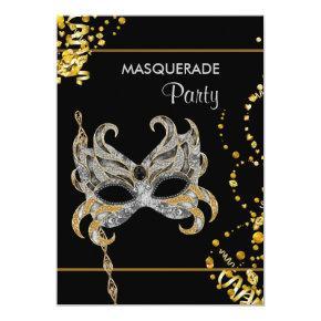 Silver Gold Mardi Gras Masquerade Party Invitation