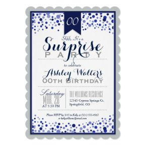 Silver Gray, White, Navy Blue Surprise Party Invitations