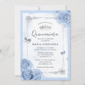 Silver Light Baby Blue Roses Elegant Quinceanera Invitation