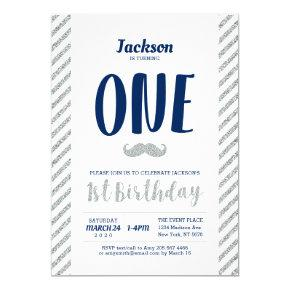 Silver, Mustache | Boy 1st Birthday Invitation