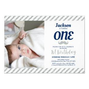 Silver, Mustache | Boy 1st Birthday Photo Invitations