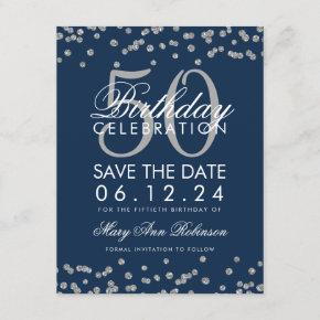 Silver Navy Blue 50th Birthday Save Date Confetti Save The Date