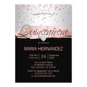 Silver Pink Rose Gold Foil Black QUINCEANERA 15 Invitation