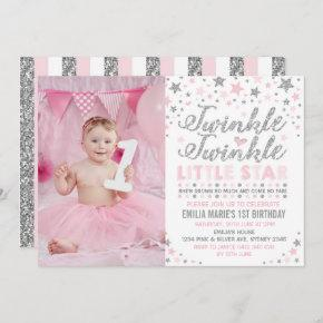 Silver & Pink Twinkle Little Star Birthday Invite