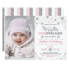 Silver Pink Winter ONEderland Birthday Snowflake Invitation