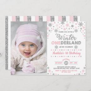 Silver Pink Winter ONEderland Birthday Snowflake Invitation