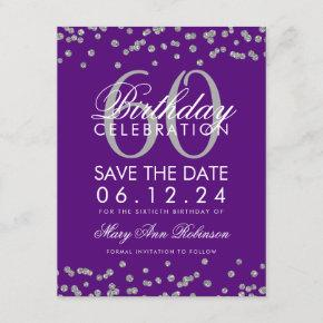 Silver Purple 60th Birthday Save Date Confetti Save The Date
