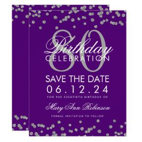 Silver Purple 80th Birthday Save Date Confetti Invitation
