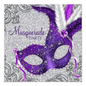 Silver Purple and Pink Masquerade Party Invitations