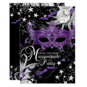 Silver Purple Mask Star Night Masquerade Sweet 16 Invitation