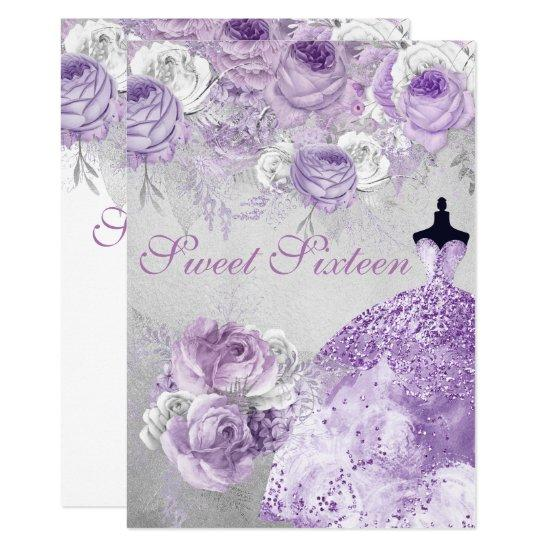 Silver Purple Rose Glitter Gown Sweet 16 Invite Candied Clouds