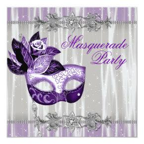 Silver Purple Sparkles Purple Masquerade Party Invitations