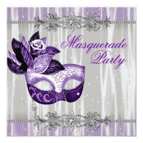 Silver Purple Sparkles Purple Masquerade Party Invitation