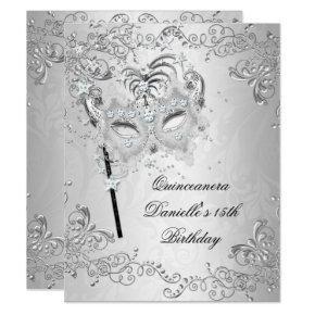 Silver Quinceanera 15th Birthday Masquerade Invitation